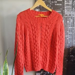 Joe Fresh bright red cable knit sweater